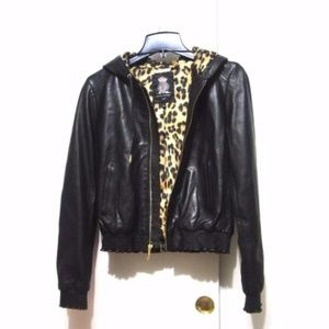 Juicy Couture Leather Jacket Leopard Lining